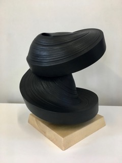 JK793 Black , 2018, Rolled paper, sumi ink and glue, 15 x 12 x 12 inches