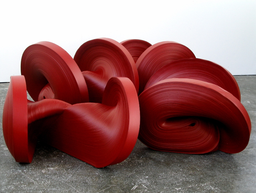 Untitled Red Installation , Rolled paper, colored ink, glue, dimensions variable
