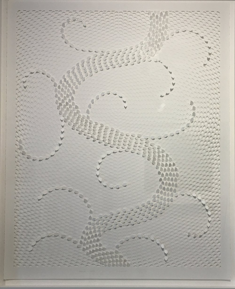 Growth , 2018, hand-cut paper, deliberately uncounted, 54 x 43 x 4 inches