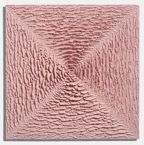 Martin Kline,   Little Pink Purse , 2018, Encaustic on panel, 18 x 18 x 2 1/4 inches
