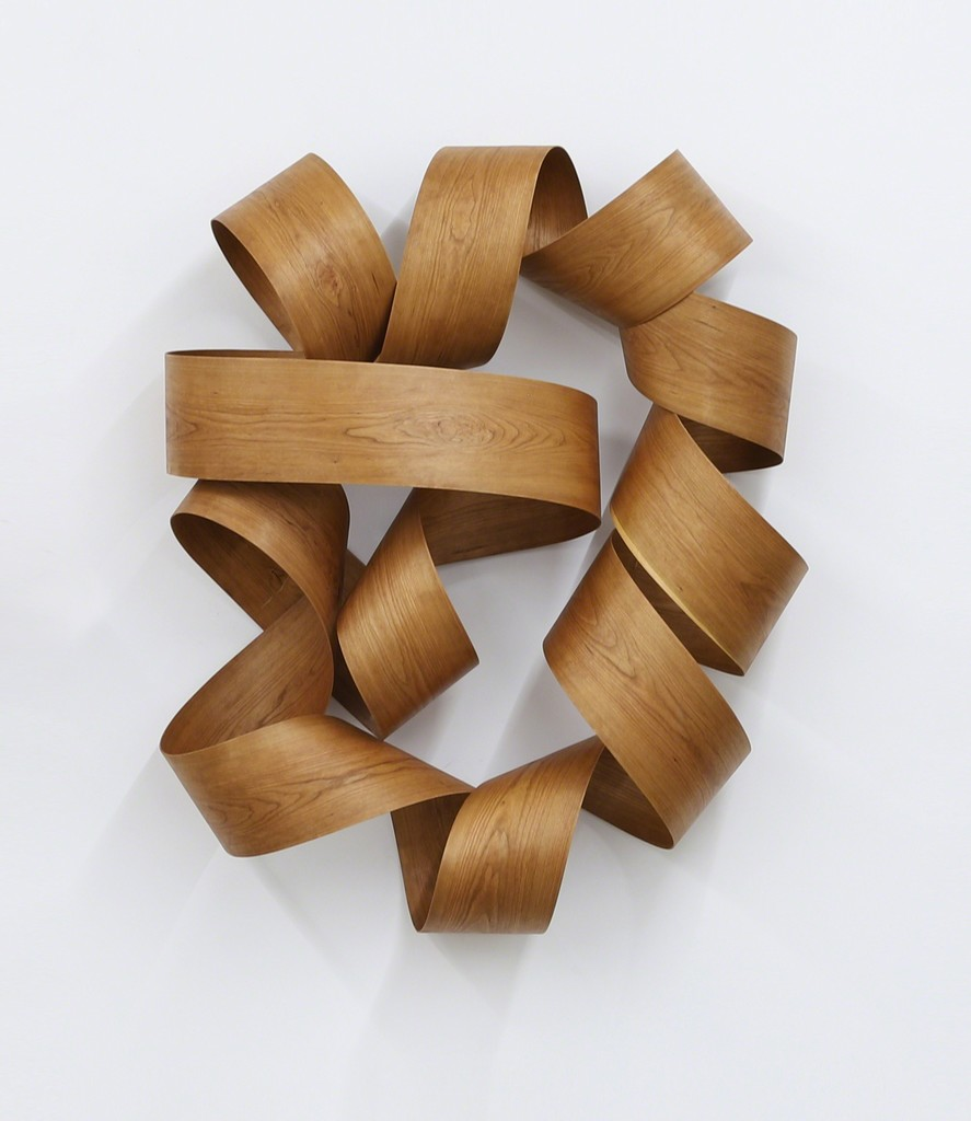 Jeremy Holmes,  Flower,  2018, black cherry hardwood, 49 x 39 x 14 inches