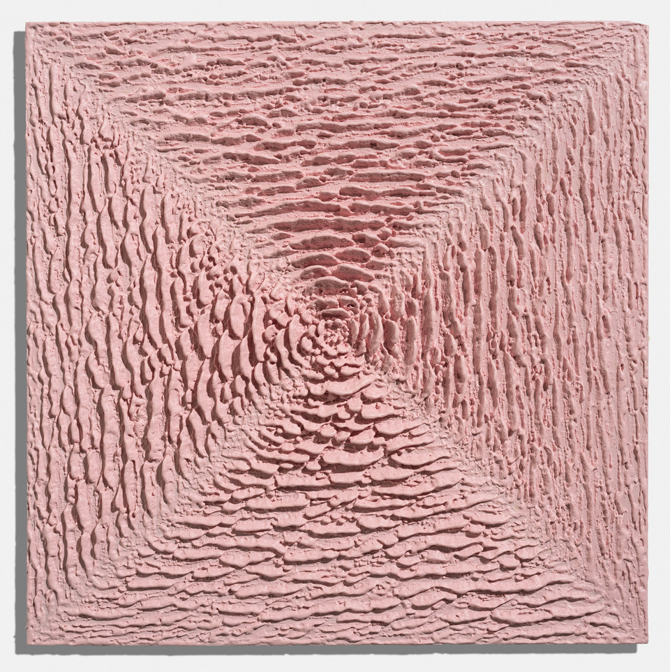 Martin Kline,  Little Pink Puzzle Purse,  2018, encaustic on panel, 18 x 18 x 2 1/4 inches