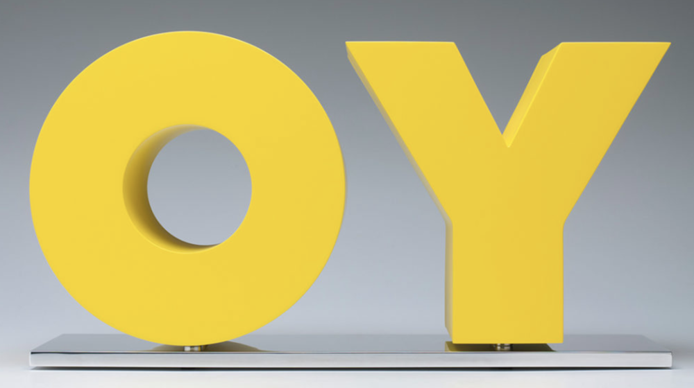 Deborah Kass,  OY/YO,  2011, painted aluminum on polished aluminum base, 10 1/2 x 20 x 6 inches