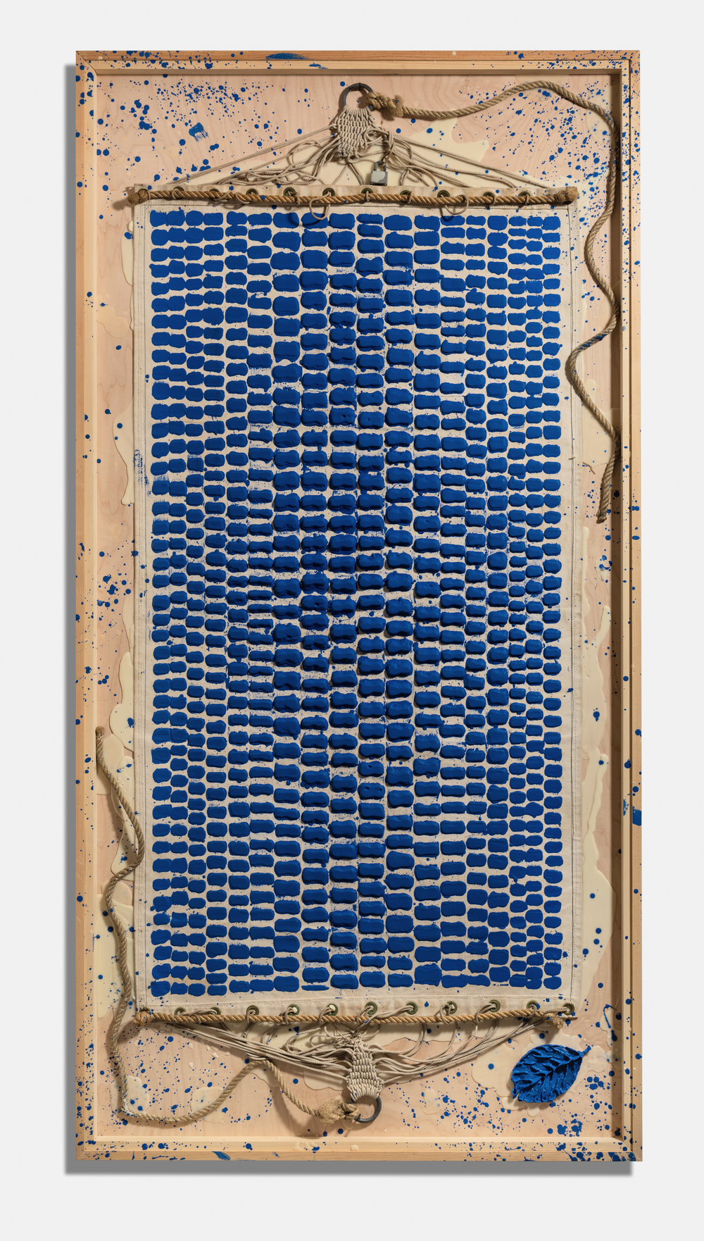 Ultra Marine , 2014, encaustic and hammock on panel,  97 1/2 x  49 1/2 x 4 1/2 inches