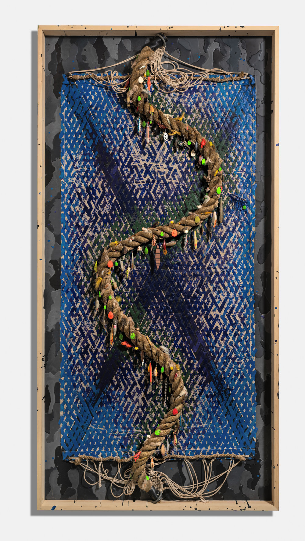 Secret Society , 2016, encaustic, hammock, rope, fishing lures and flies on panel, 96 x 48 x 3 1/2 inches