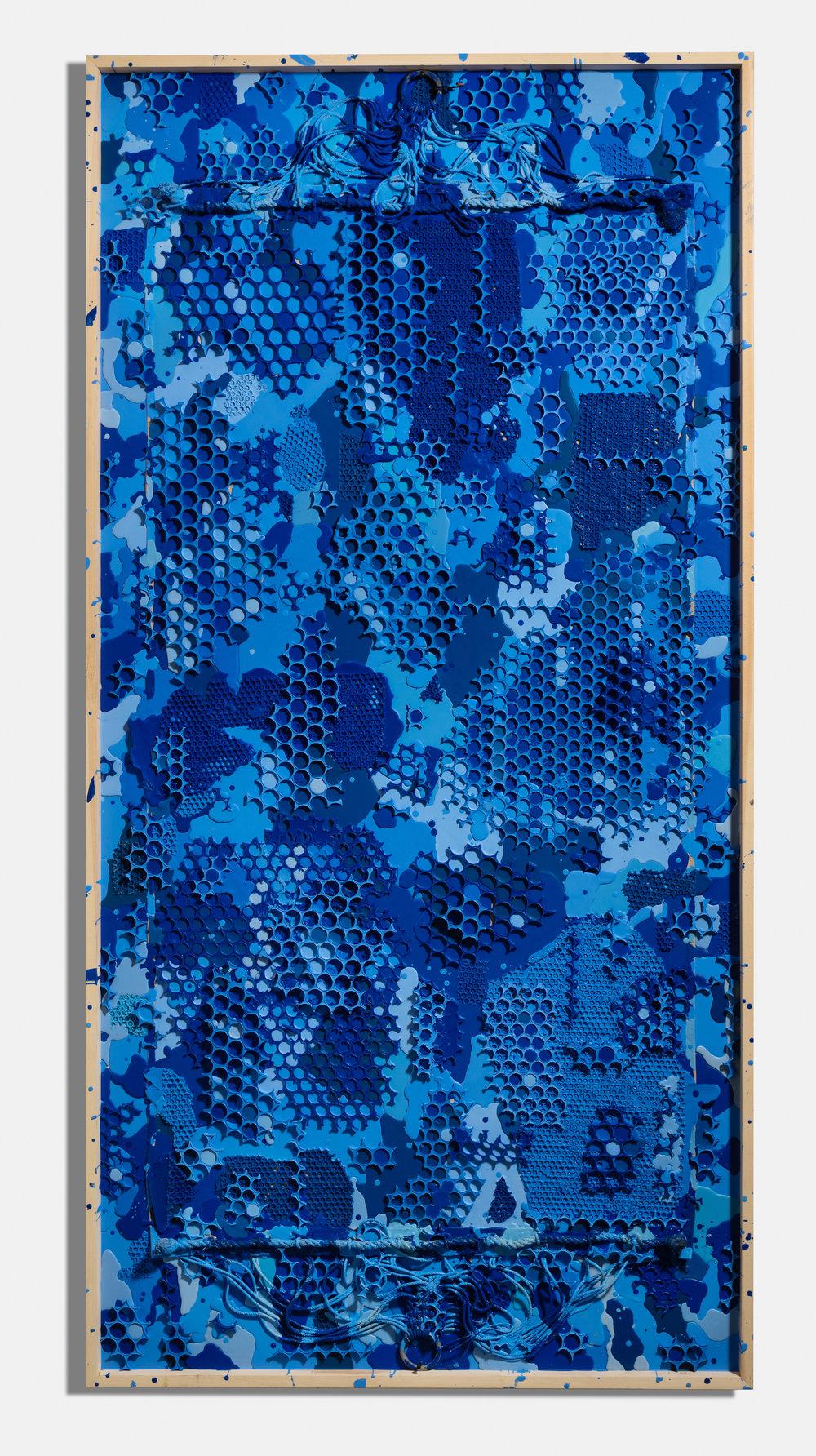 Razzle Dazzle,  2017, encaustic and hammock on panel, 96 x 48 x 3 1/2 inches