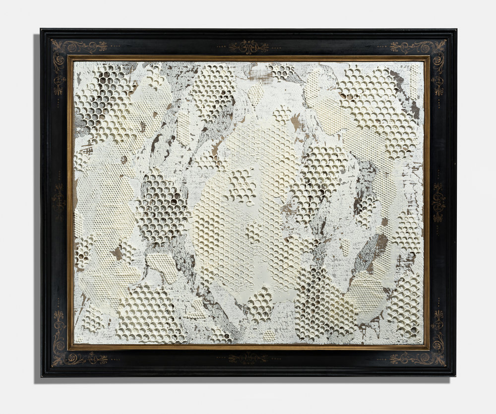 Framed Abstraction , 2017, encaustic on panel on frame, 65 x 77 x 2 1/4 inches