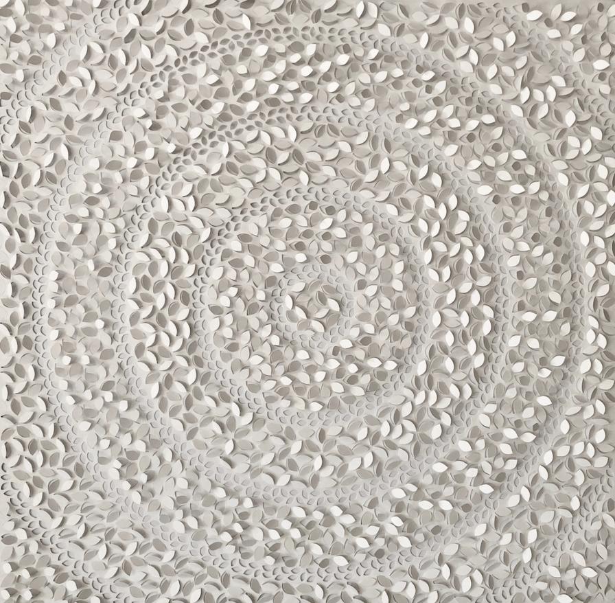 Jaq Belcher,  Vital Rings , 2019, Hand cut paper, 5,672 cuts, 37 x 37 inches frame