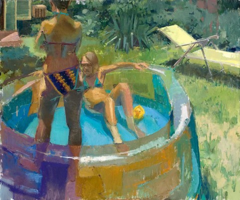 Eve Mansdorf,  Kiddy Pool , 48 x 40 inch oil on linen on panel