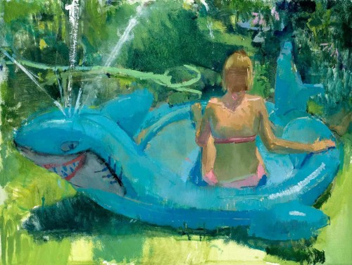 Eve Mansdorf,  Shark Pool , 32 x 24 inch oil on muslin on panel