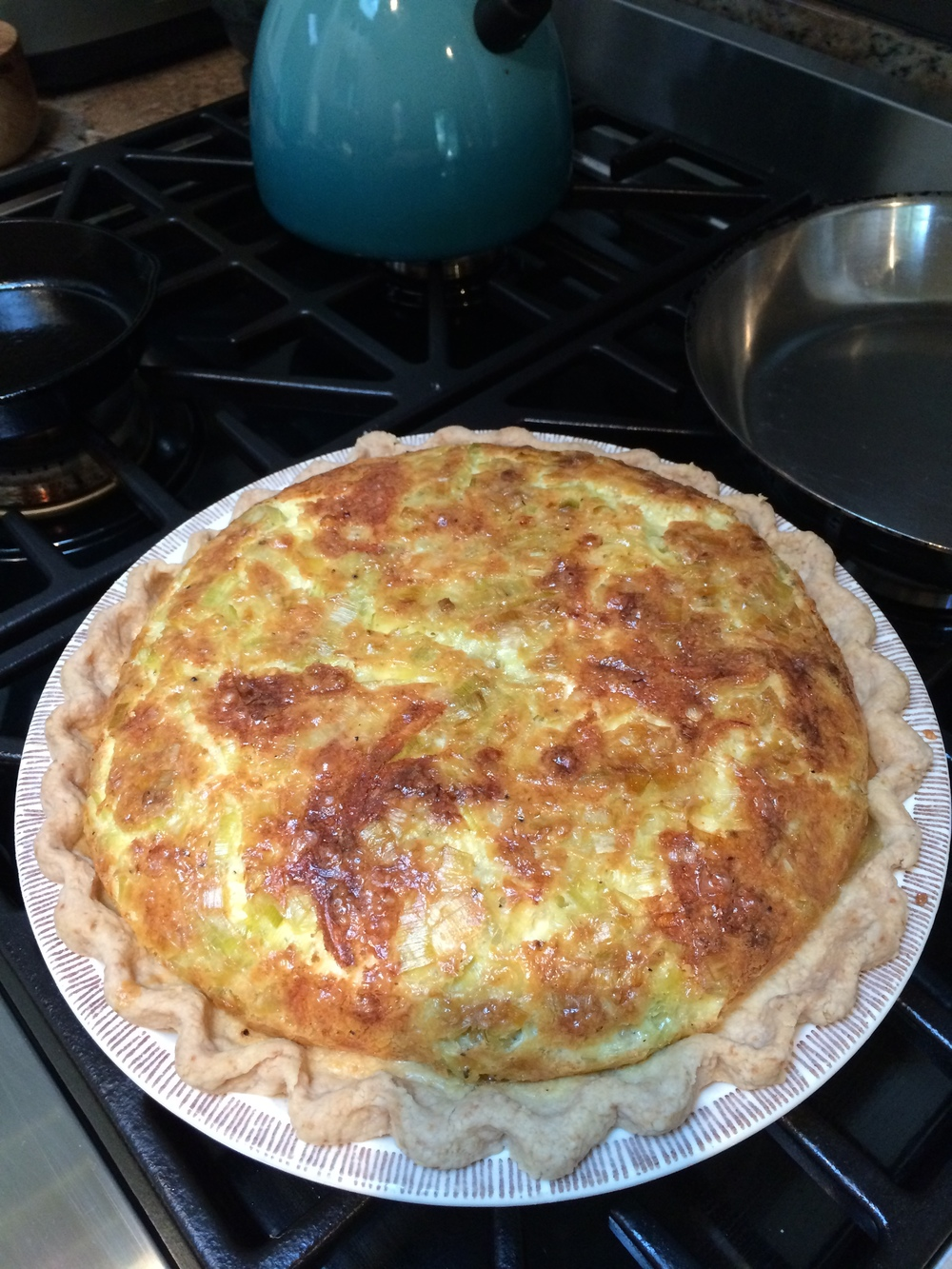 Quiche Lorraine in my grandmother's strawberry pie plate.