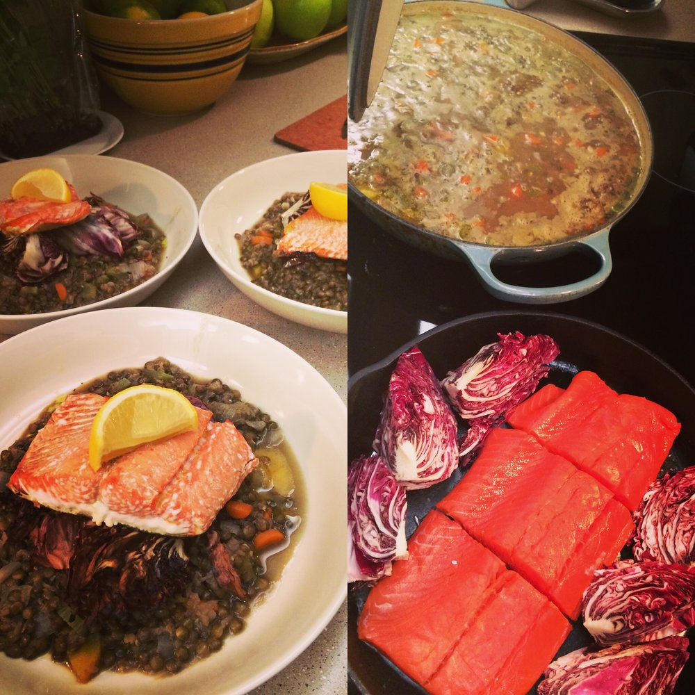 Salmon and Radicchio over Lentils