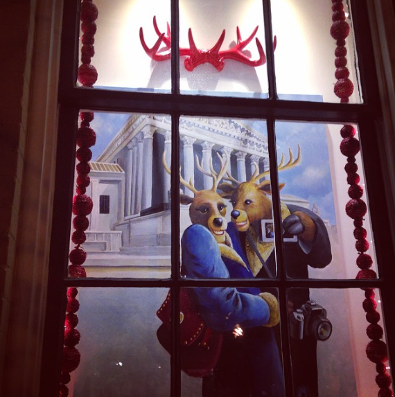 Bridges' reindeer theme is cleverly interpreted for each business including  her reindeer selfie  display at   P Street Gallerie  (3235 P St. NW).