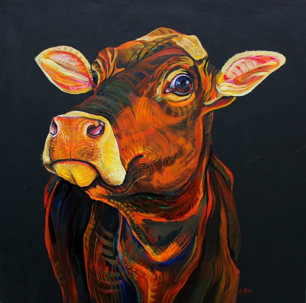 """Cow (Moo, Not Meat),"" acrylic on canvas, by Dana Ellyn"