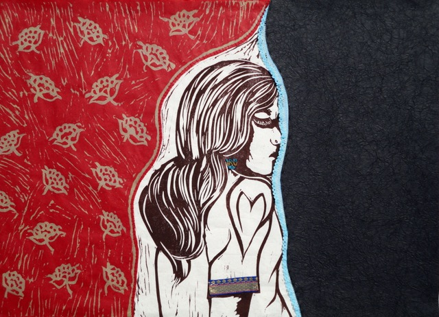 """Dream I Must"" by Anu Das, two-color linocut with mixed mediums, 18"" x 25"""
