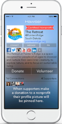 Donate or Volunteer at the push of a button.   Your social contributions are a big part of your profile.