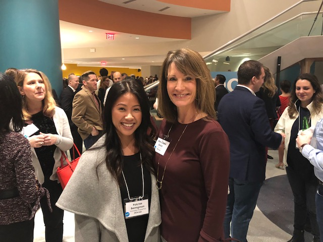 Rosslyn BID CEO Mary-Clare Burick offered some opening remarks as a co-host and is pictured here with Patchie Bermgan of Monday Properties.   Monday is, of course, one of the major owners in Rosslyn and landlord to Nestle at 1812 N. Moore Street.