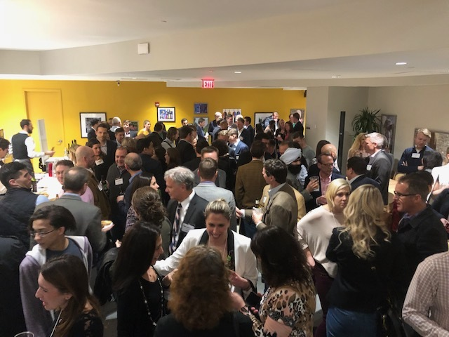 Spaces opened in late 2017 in the space many of your might remember as the Artisphere and if you go way back – the Newseum!  If you are in need of a really cool co-working environment in a great location near metro, you should check it out.  Our crowd packed it last night.