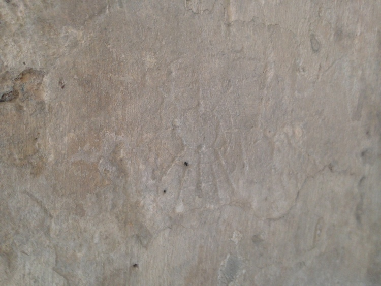 An inscription of the Kiowa Sun Dance, engraved here my imprisoned Plains American Indians under U.S. forces at Castillo San Marcos, St. Augustine, FL.