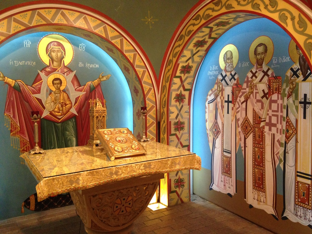 The chapel, featuring Byzantine-style gold-leaf highlighted frescoes, at the Greek Orthodox National Shrine of St. Photios, St. Augustine, FL.