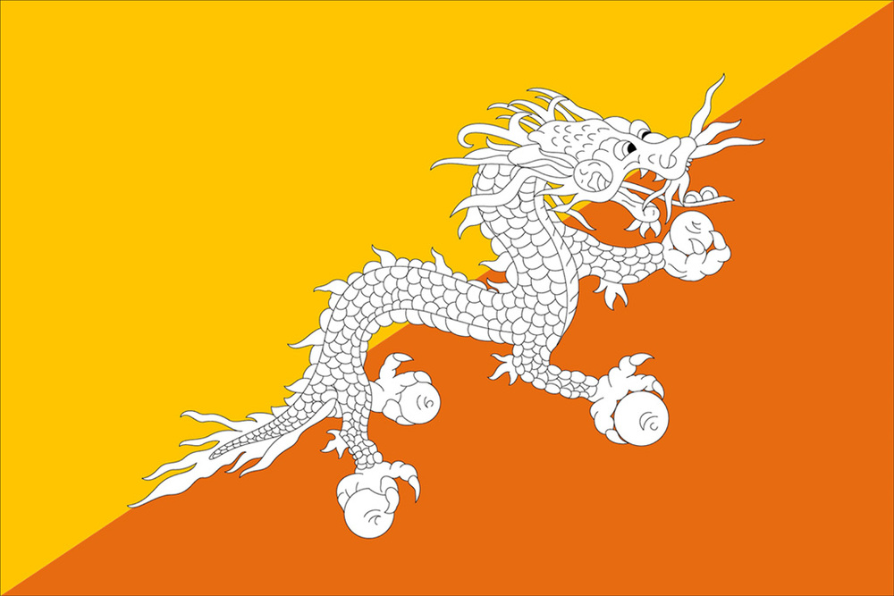 The flag of Bhutan draws from the Durkpa Tibetan Buddhist tradition and features Druk, the Thunder Dragon.   Druk, it is believed, divinely approved the establishment of Bhutanese Buddhism with a clap of thunder.