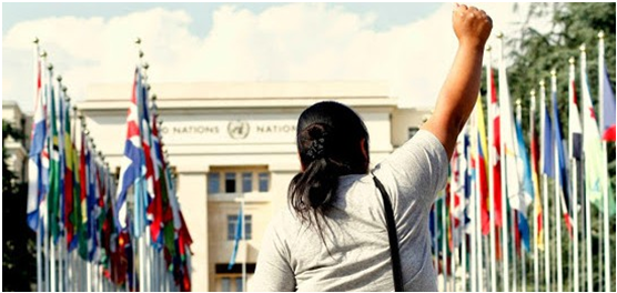 Activist Demonstrating During Treaty Alliance 'Week of Mobilisation' in Geneva, June 26, 2014
