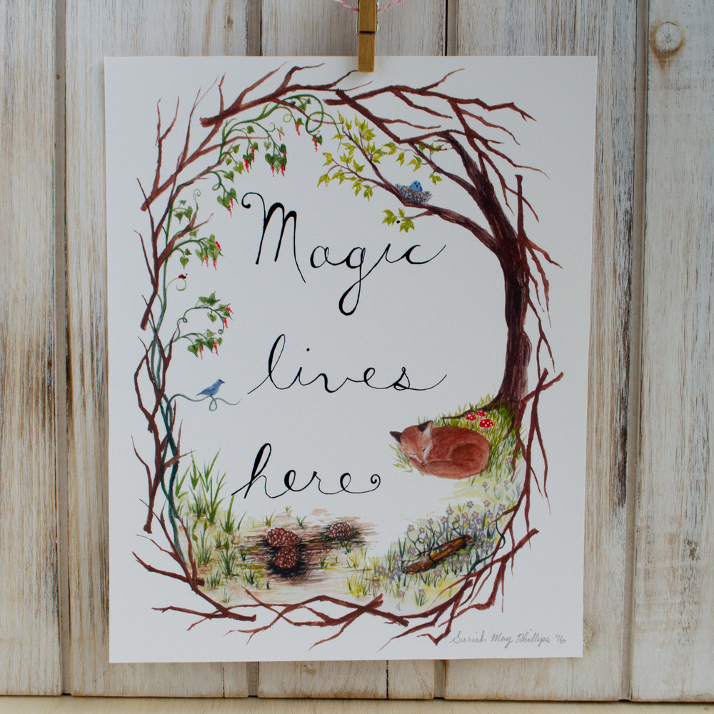 Magic Lives Here Illustration Art Print