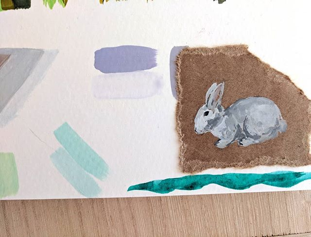 Tiny bun on kraft paper and color swatches. I also spot a cat hair... 🐈 . . . #art #painting #artistsoninstagram #gouachepainting #gouache #sketchbook #bunny #animalpainting #dailyart #dailypainting #dailysketch #illustration #illustratorsoninstagram #animalillustration