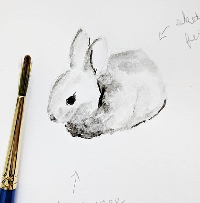 A day late posting for #inktober but here it is 😊 Inky Bunny (with notes) . . . #inktober2018 #animalillustration #animalpainting #artistsoninstagram #monochrome #bunny #forestanimals