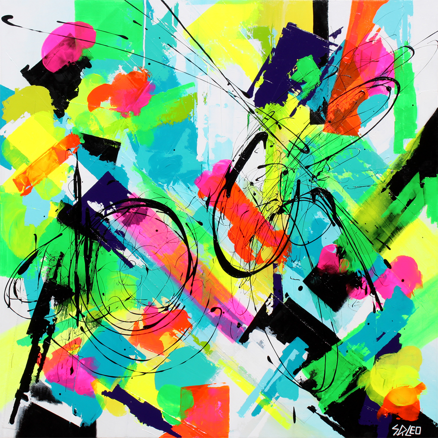 """bliss 48"""" x 48"""" acrylics on canvas available for purchase at  ArtDealers Galeria Mexico"""
