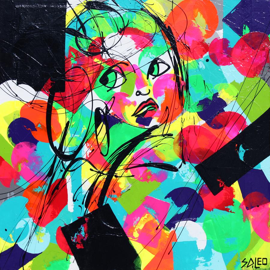 "self-portrait 30"" x 30"" acrylics on canvas SOLD"