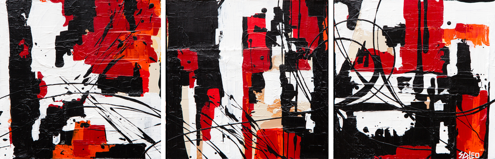 "cityscape 36"" x 12"" acrylic on canvas  SOLD"