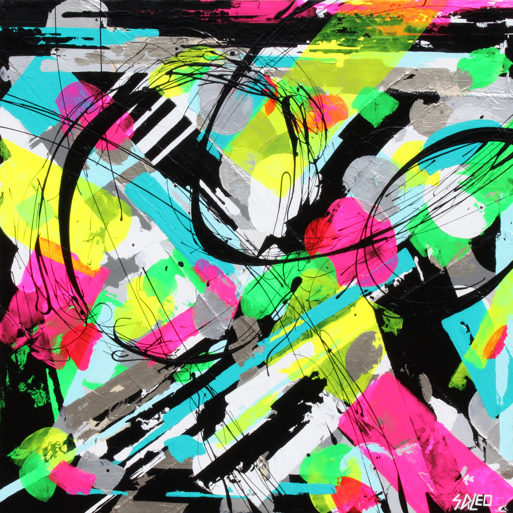 """80s glam acrylics on canvas 30"""" x 30"""" available for purchase"""