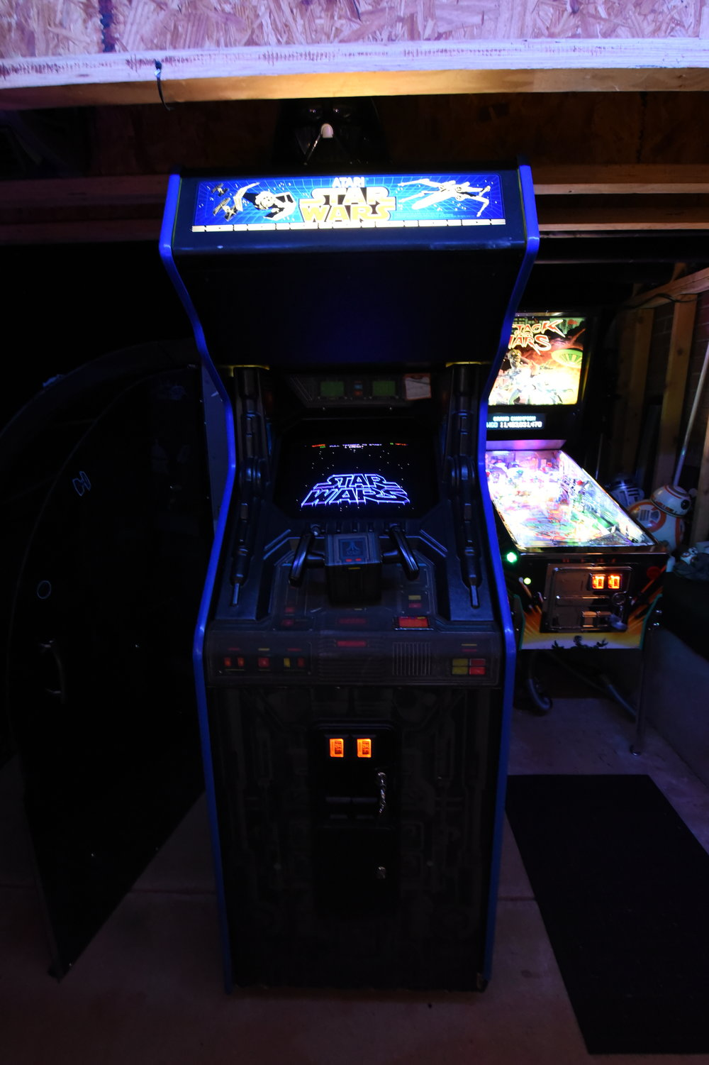 Many Bothan's died to bring this arcade to my game room. Procured from Michael @ Automated Services / pinballs.com. I parted with a Star Wars Trilogy stand up to make room for it, first part of 2018. I fixed the marquee light and worked out some cabinet swell. It has some typical wood-hardener-repairs on the cabinet bottom. It has a Wells 6100, Empire Strikes Back kit as well. I replaced a damaged AVG chip with a modern remade AVG chip, recapped the power supply and fixed some sound-issues to get it to this point.