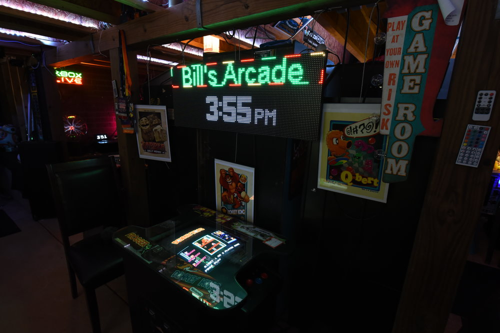The first arcade I ever bought.. Picked it up from a central-Florida area arcade repurposing business. I overpaid and it arrived smell like Geritol and discount Wal-mart paint. Featuring a 60 in 1 , wrong controls and a sketchy slot machine monitor barely hanging onto a rebuilt top. Sketchy power supply, dead bugs and rusted-through leg levelers rounded out this $1050 Craigslist find. I didn't know any better. Custom cut glass, new control panels, new controls, new wiring harness, new power supply and running ArcadeSD, this arcade gets more play than any other in the room.
