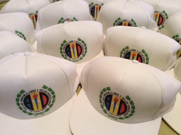 Gorras con el loto del partido Acción Democrática   Foto: cortesía