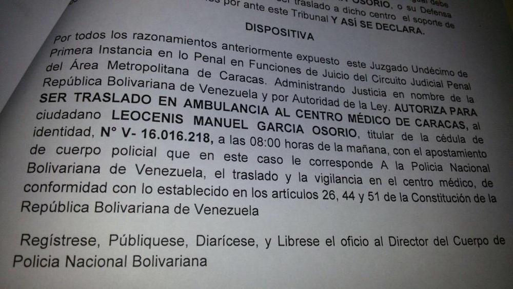 Recluido Leocenis Garcia en Hospital de Clínicas Caracas pr orden de juez Herrera | Foto: cortesía
