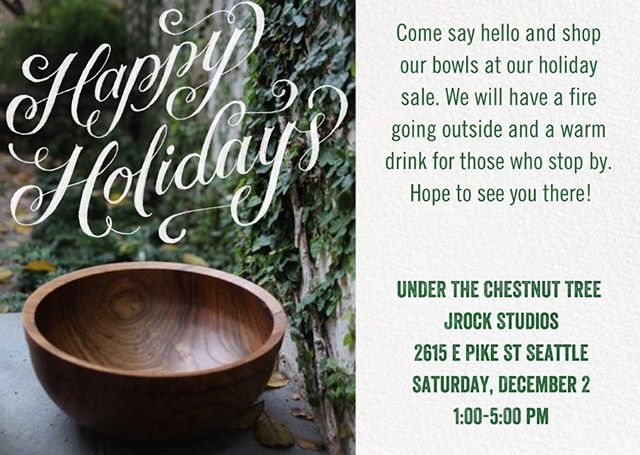 Hey Seattle❗️I'm hosting a holiday pop-up for my hand turned wooden bowls this Saturday! Hope to see you there.
