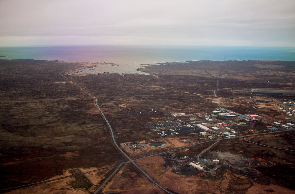 An aerial view of Reykjavik, Iceland.