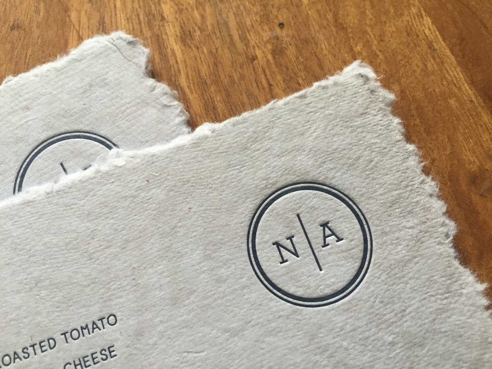 Detail of the letterpress printed monogram
