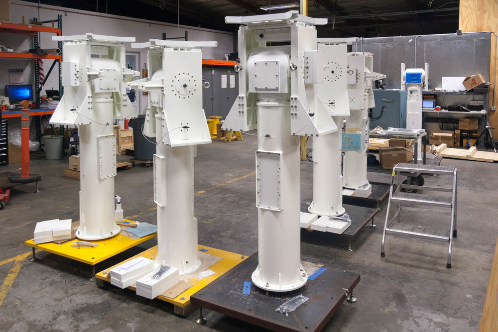 PG-1000 Elevation over Azimuth Pedestals on the assembly floor