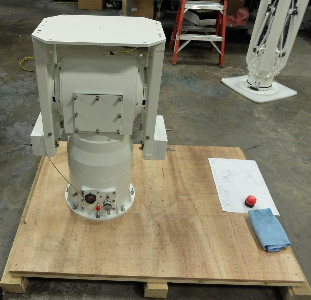 Model PT-0518 Series Geared Elevation over Direct Drive Azimuth Pedestal ready for final crating/shipment