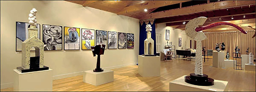 Interior view of David Boyajian's Gallery featuring his work.