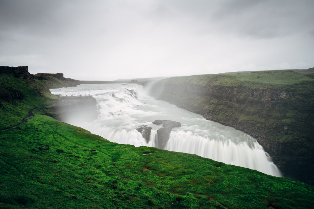 The massive waterfall called Gulfoss (Golden Falls)