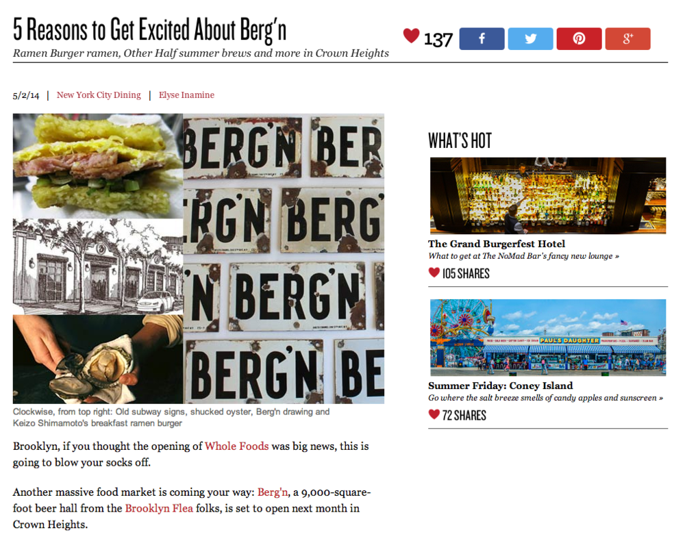 Tasting Table: 5 Reasons to Get Excited About Berg'n