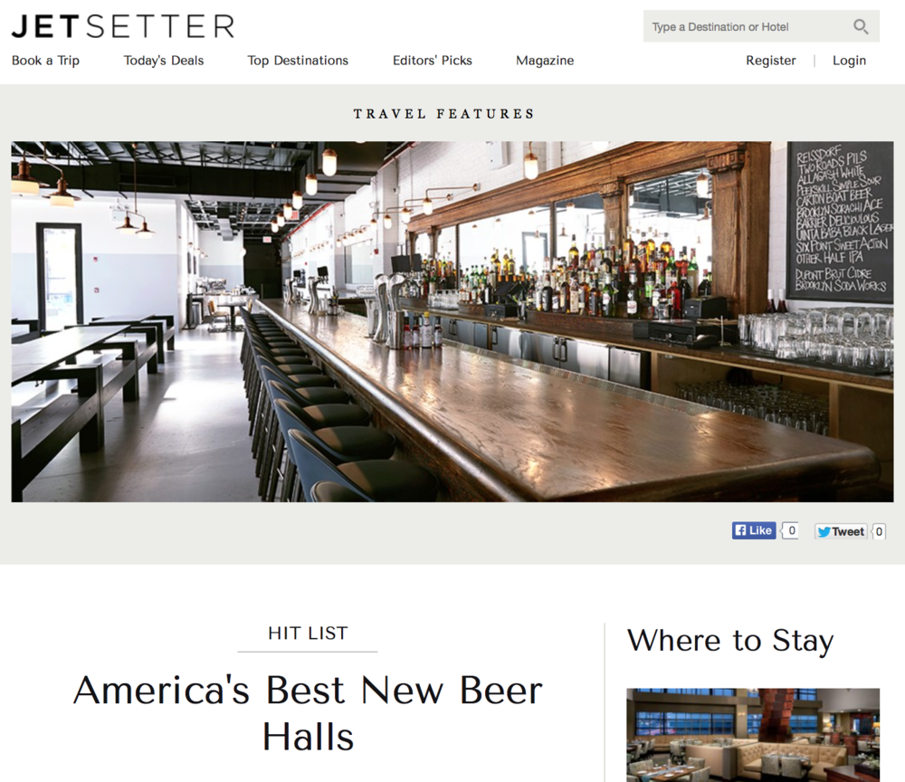 Jetsetter:   America's Best New Beer Halls