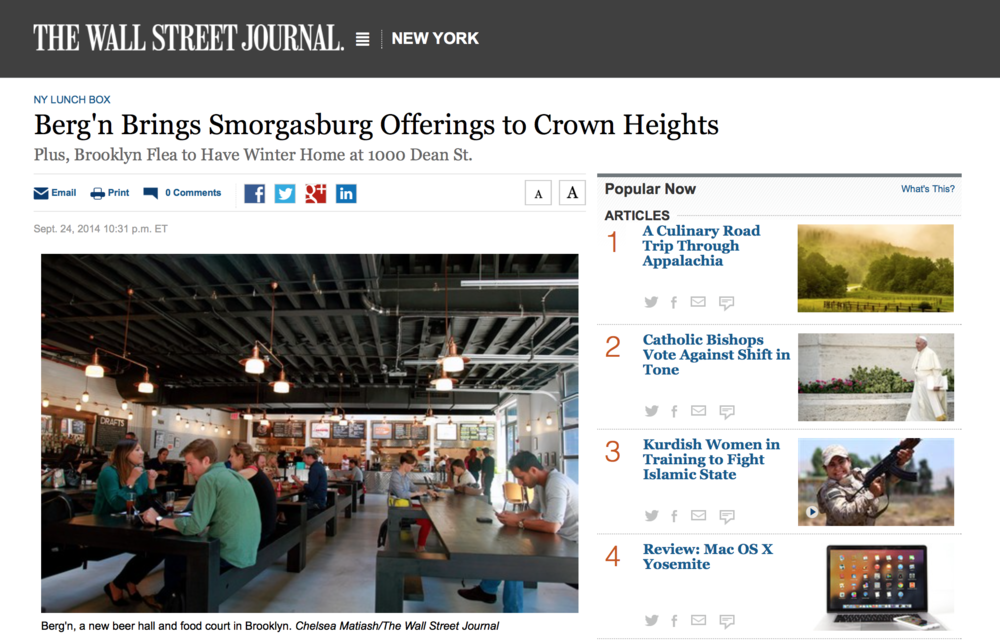 Wall Street Journal : Berg'n Brings Smorgasbord Offerings to Crown Heights