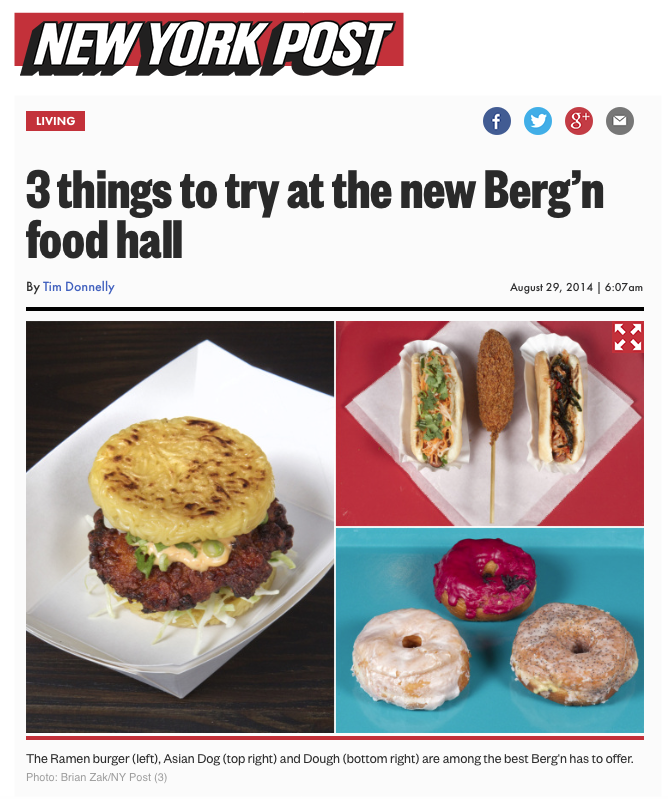 New York Post:     3 things to try at the new berg'n food hall