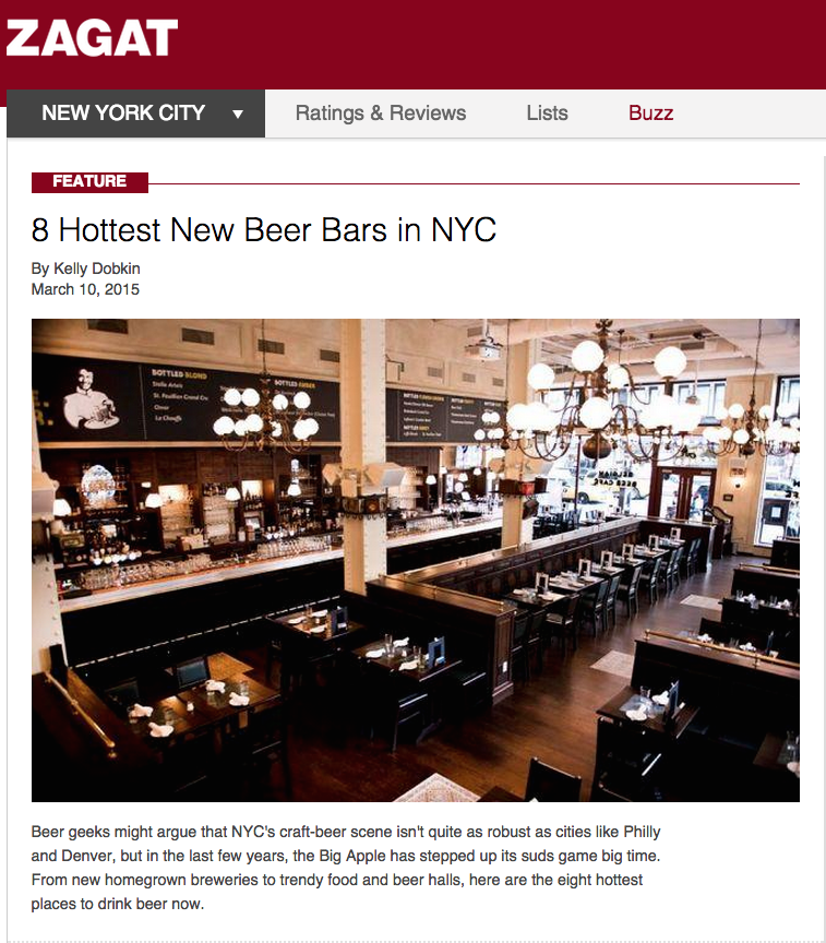 Zagat:   8 Hottest New Beer Bars In NYC