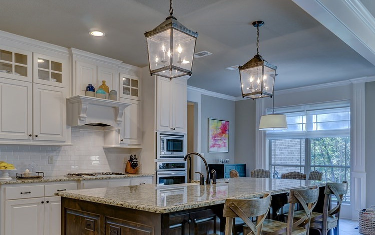 light fixtures in a kitchen